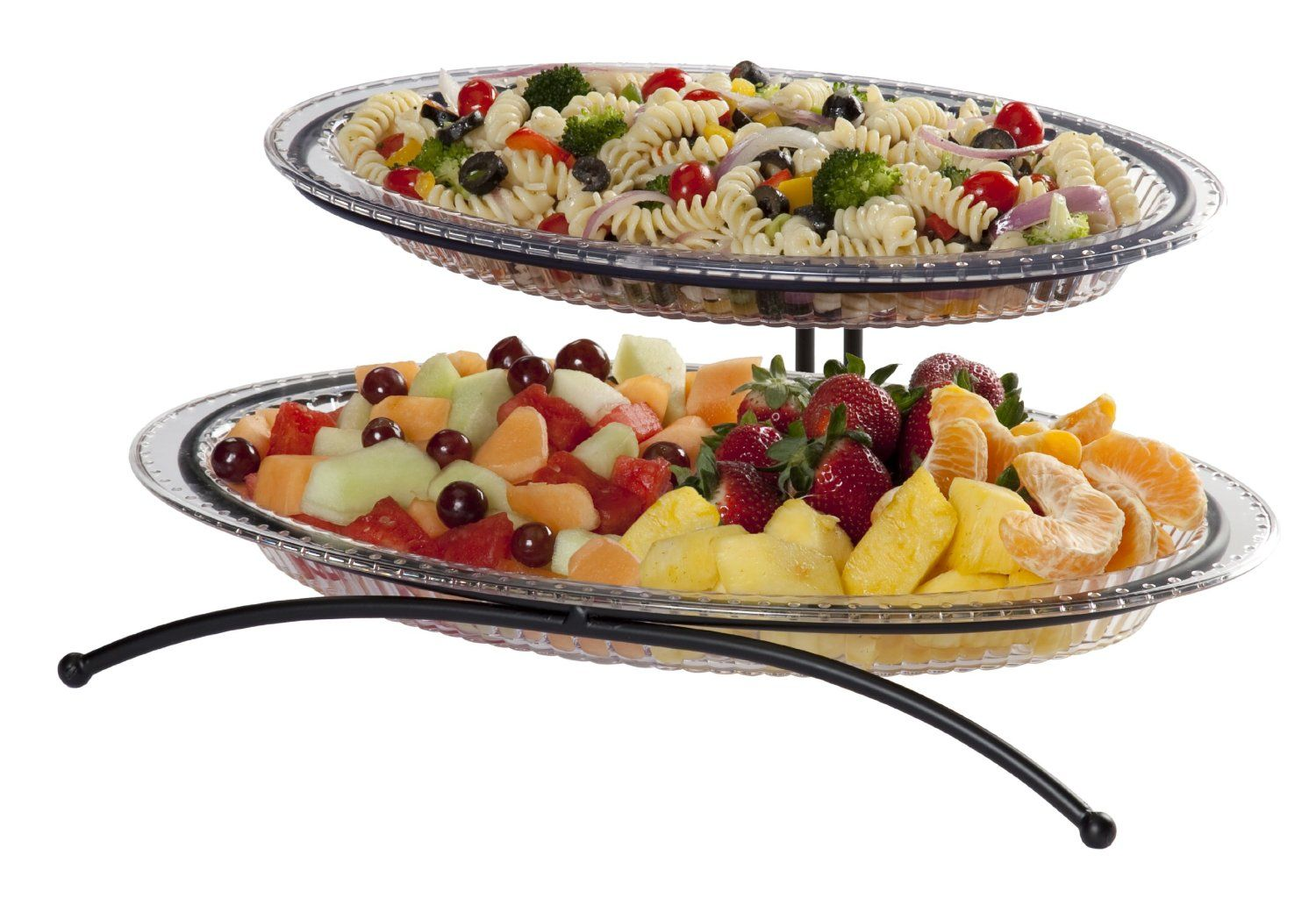 Amazon.com | CreativeWare 2-Tier Buffet Server Includes 1 Small and 1 Larger Platter Tiered Serving Stand Serving Dishes Trays u0026 Platters  sc 1 st  Pinterest & Amazon.com | CreativeWare 2-Tier Buffet Server Includes 1 Small and ...
