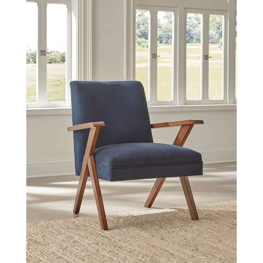 Best Carson Carrington Vaby Dark Blue And Brown Accent Chair 400 x 300