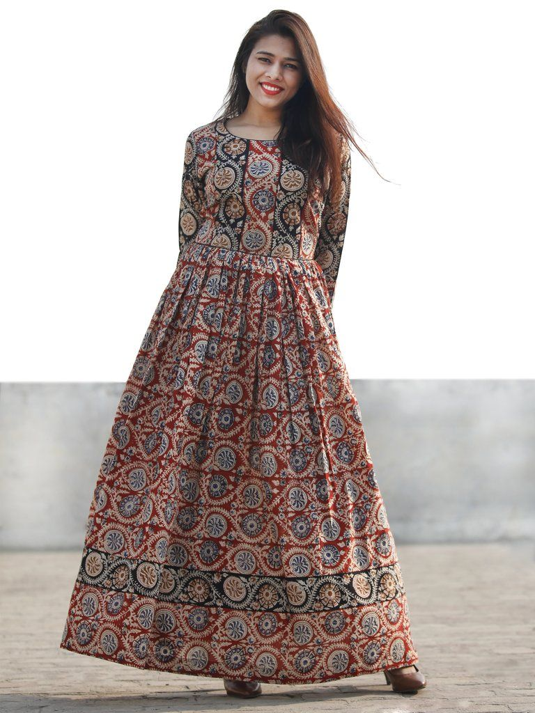 f01929a4f Red Black Beige Indigo Hand Block Printed Long Cotton Dress With Gathers -  D183F1151