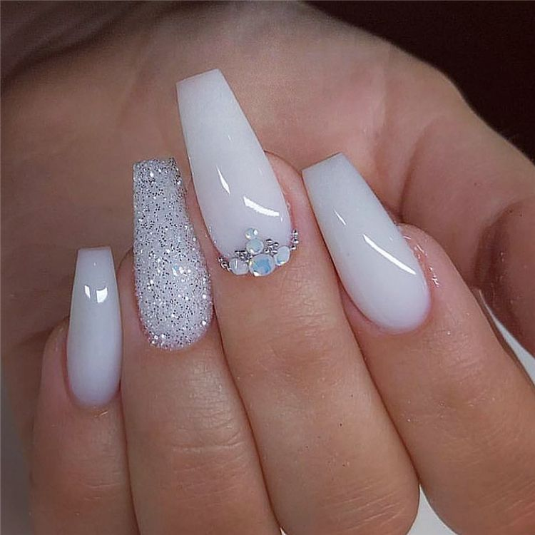 55 Trendy And Hottest Coffin Nail Designs You Desire For In 2020 Page 30 Of 55 Women Fashion Lifestyle Blog Shinecoco Com In 2020 White Nails Coffin Nails Designs White Acrylic Nails