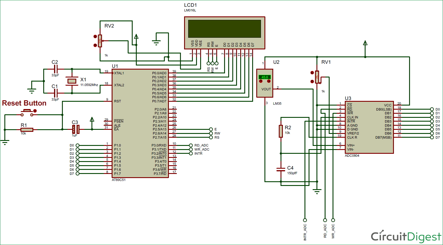 medium resolution of digital thermometer circuit diagram using lm35 and 8051 electronic digital thermometer circuit diagram using lm35 and