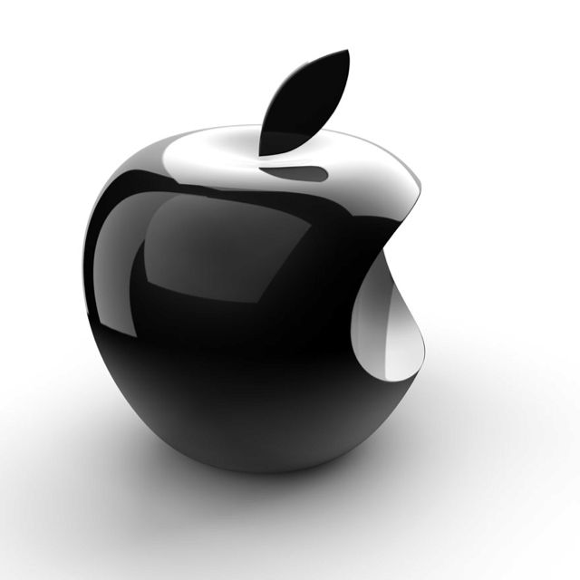 black logo 3d apple