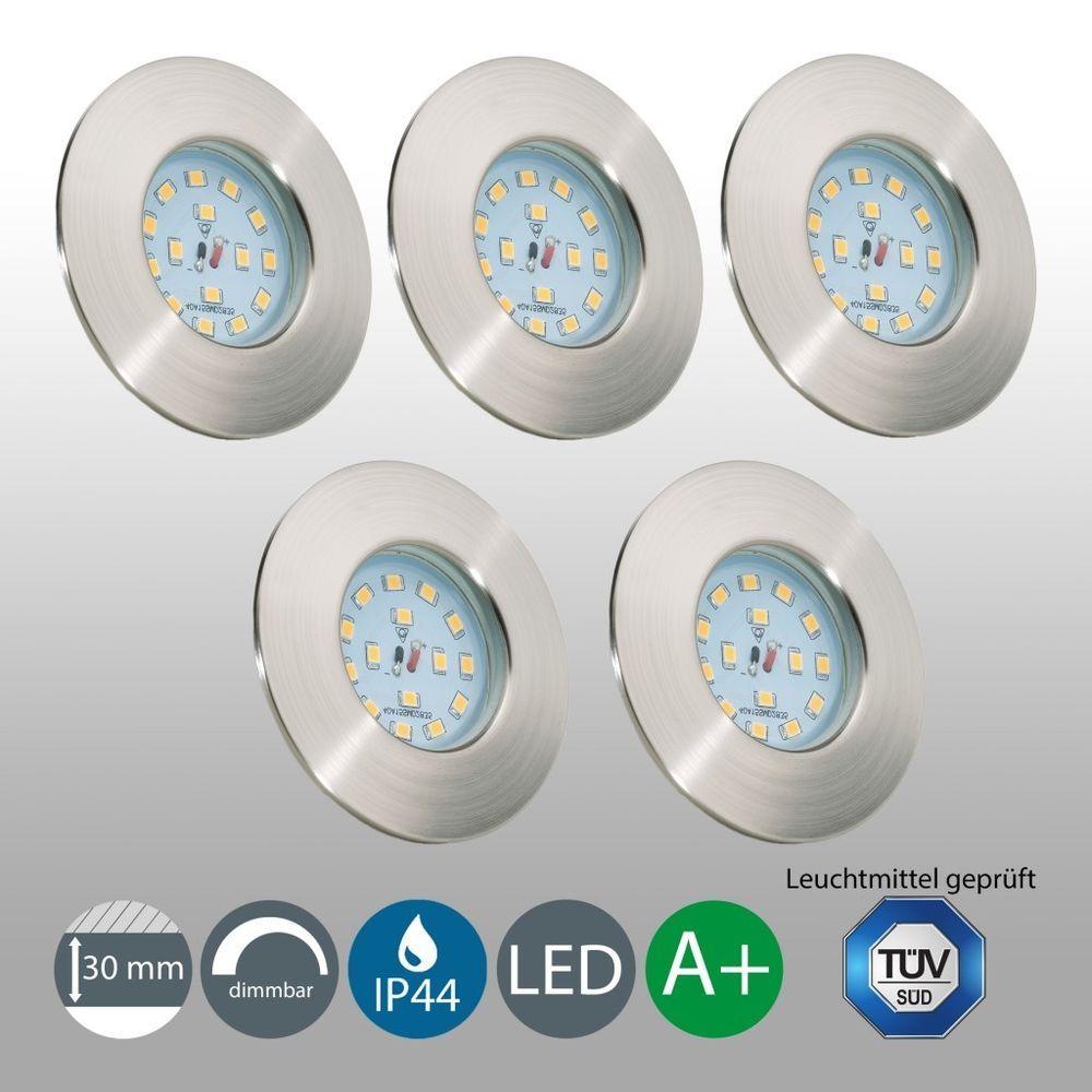 5 LED Einbaustrahler Bad IP44 dimmbar Einbauleuchte Lampe ...
