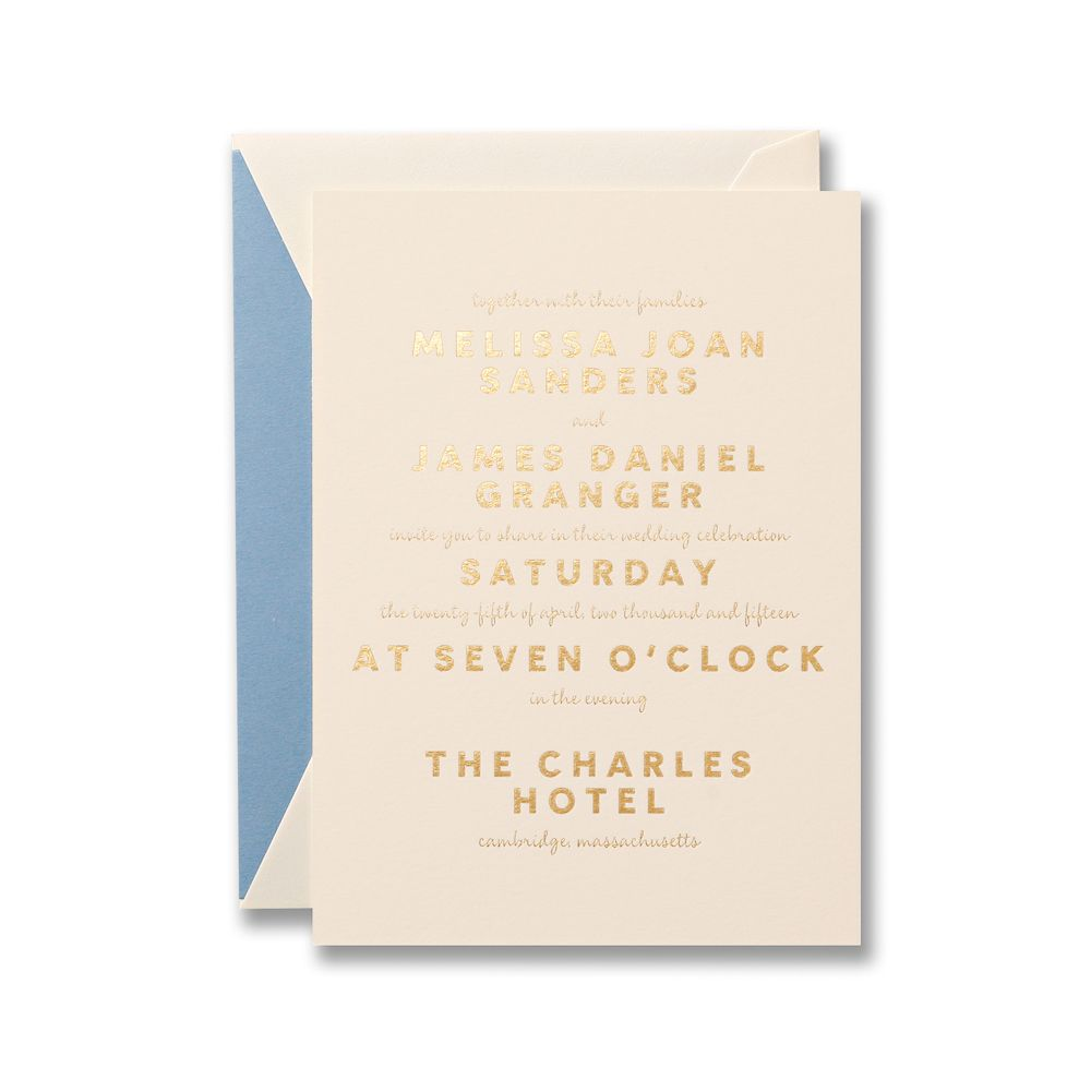 Gold foil stamped invitation on heavy weight Lettra. | Weddings ...