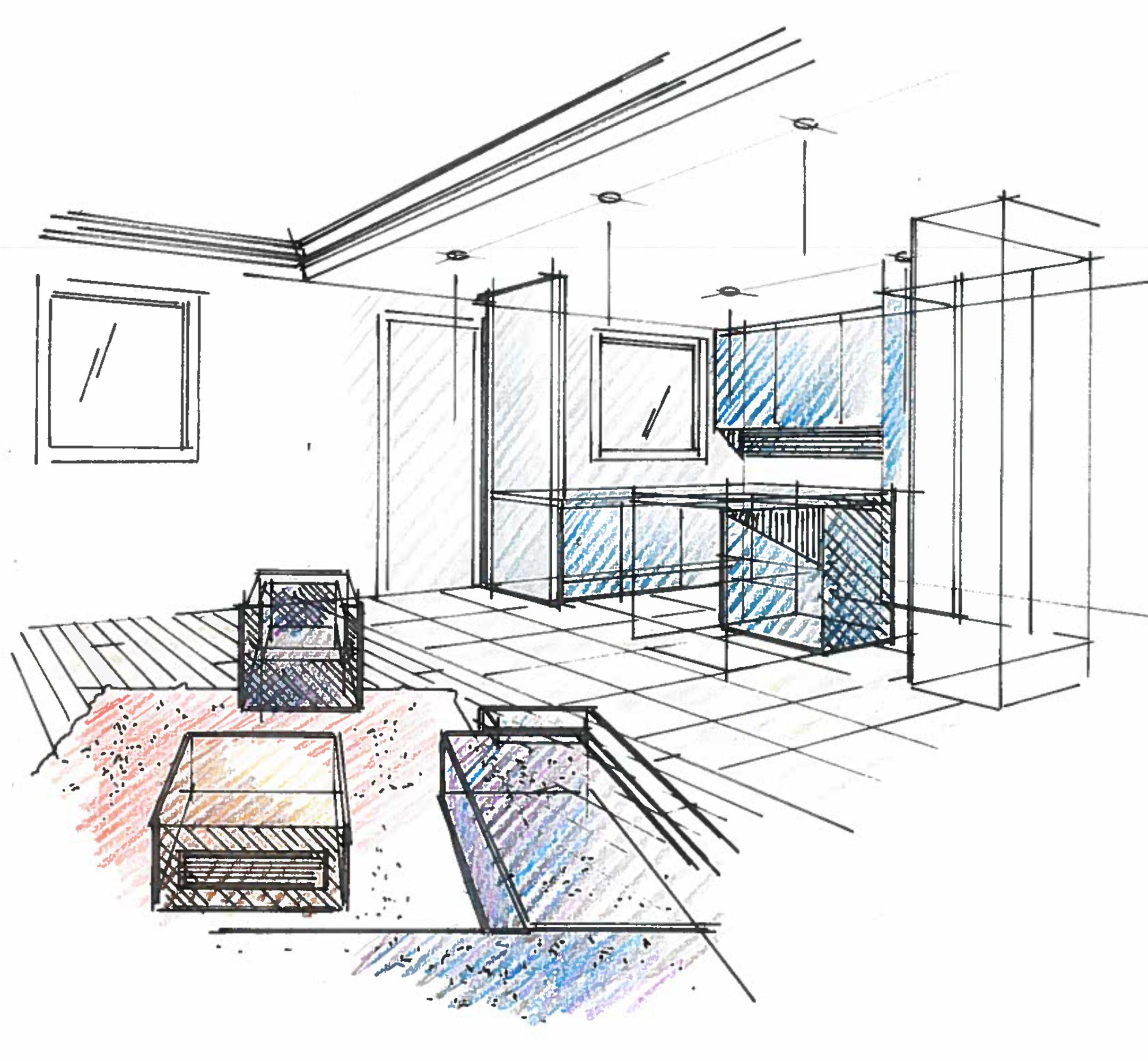 Croquis Perspective Salon Cuisine Architecte Interieur Architecture Interieure Croquis Maison