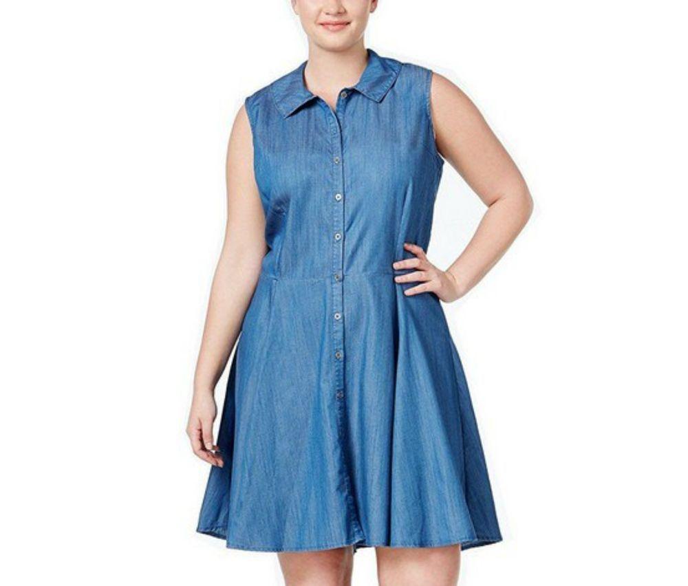 Stoosh Sheath Shirt Dress Fit Flare Denim Chambray Plus Size 1x