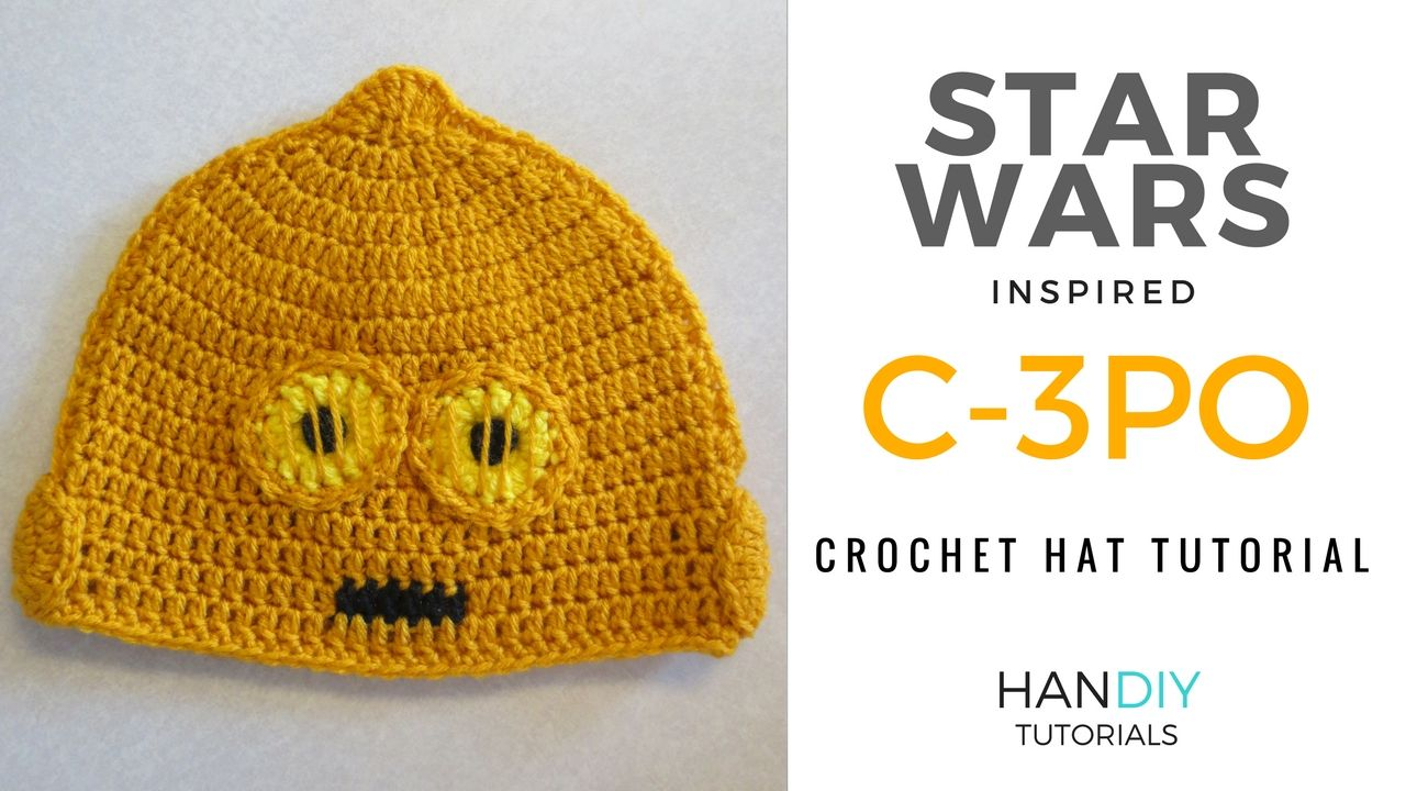 Step by step C-3PO droid crochet hat tutorial inspired by Star Wars ...