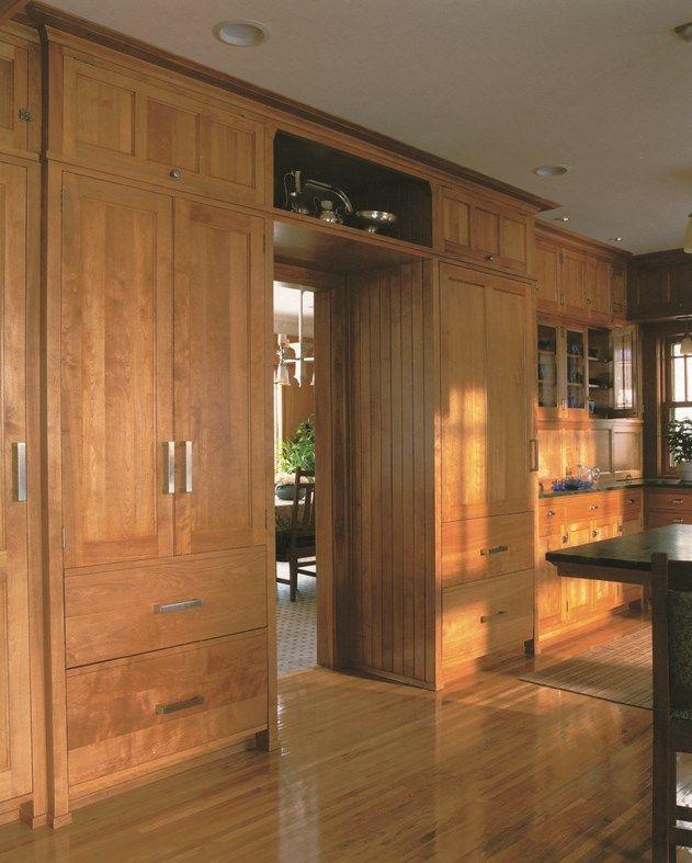 Prairie School kitchen with red birch cabinets and grey ...