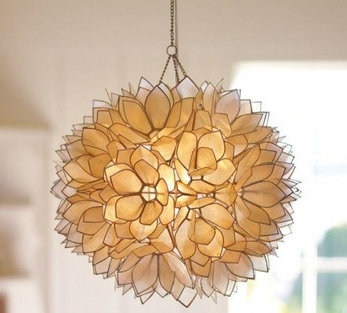 Capiz pendant contemporary pendant lighting misc ideas design this is amazing pendant lamps made from hundred of capiz shell petals form a luminous lotus flower the petals are trimmed with polished nickel aloadofball Image collections