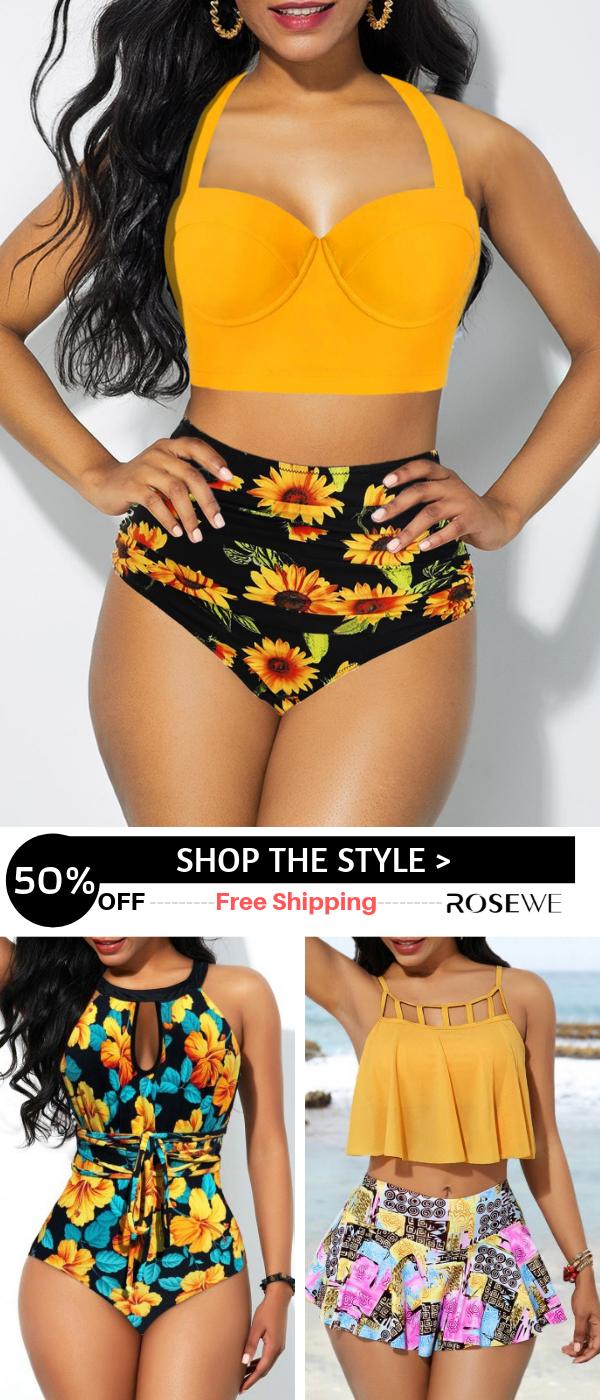Hot Sale Cutout Back Halter Sunflower Print Summer Bikini Set Yellow Swimwear Swimsuit Fashion Cute Swimsuits