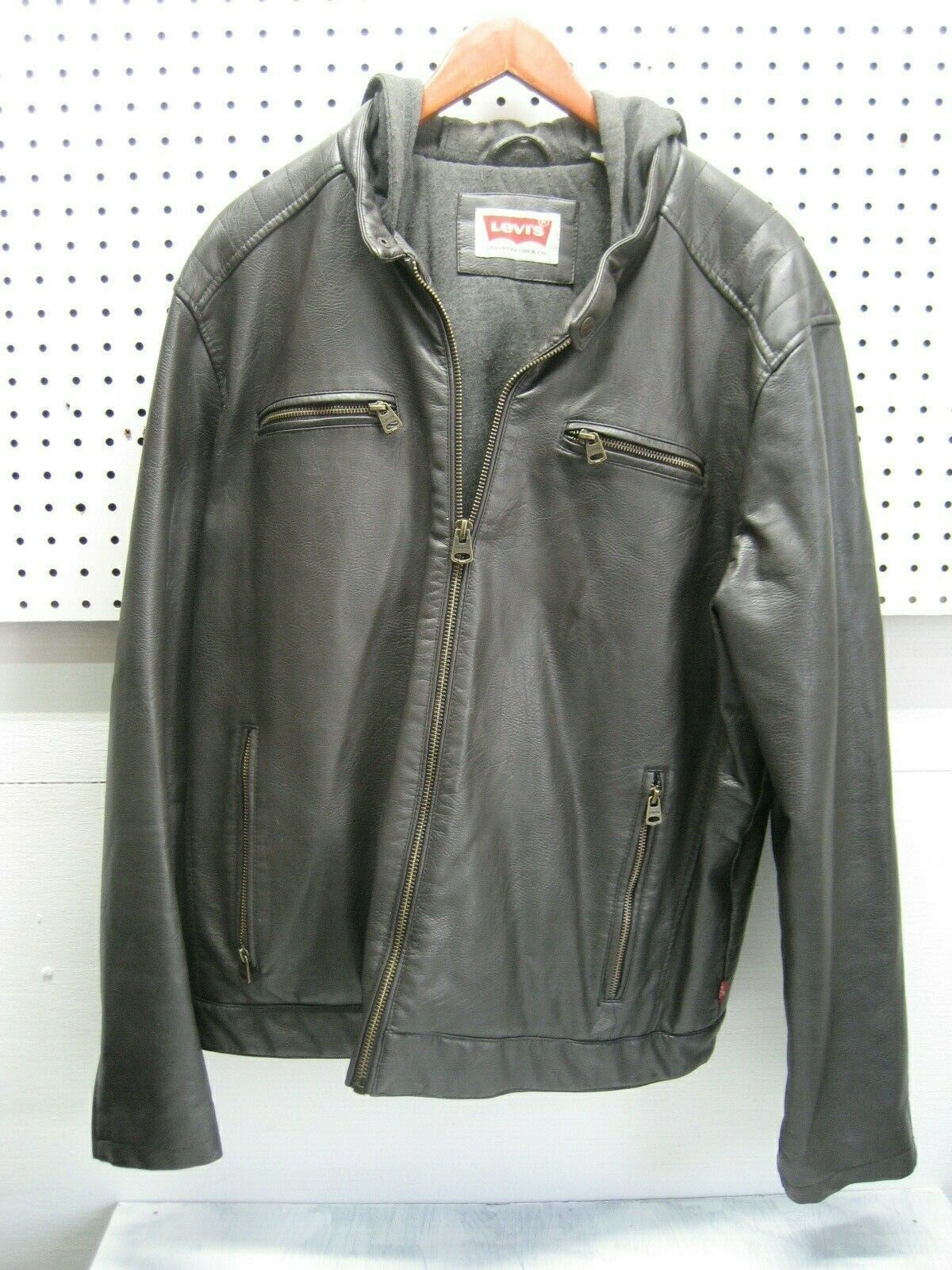 LEVIS mens brown faux leather jacket size xl Brown faux