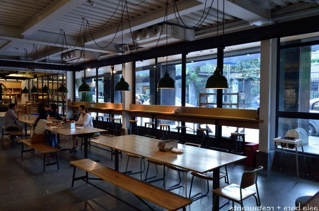 Modern Canteen Interior With Polished Wooden Tables And Chairs Also With  Custom Pendant Lamps Decoration Picking. Modern Canteen Interior With Polished Wooden Tables And Chairs