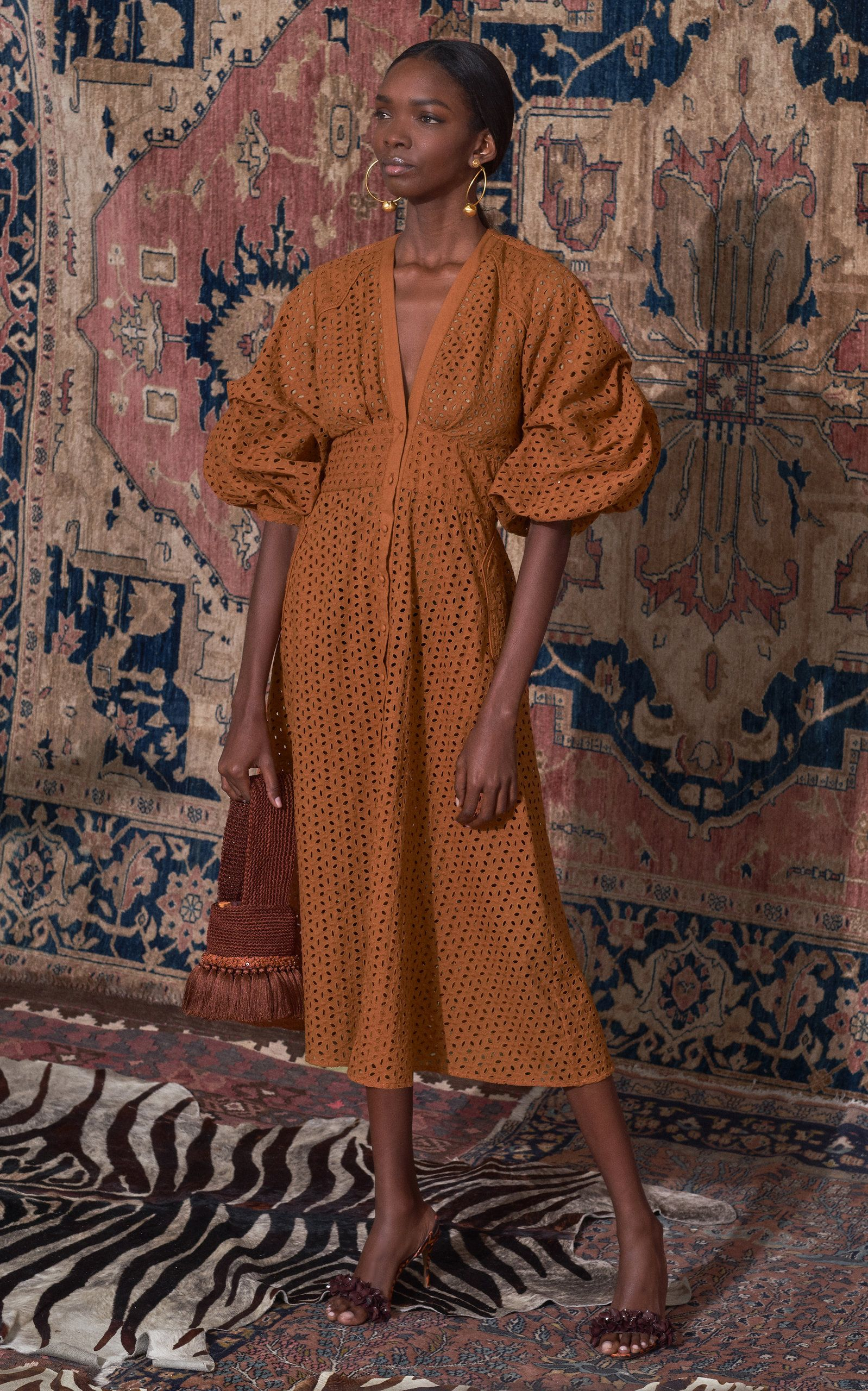 Johanna Ortiz Magical Discipline Broderie Anglaise Cotton Midi Dress S #fall2019fashiontrends
