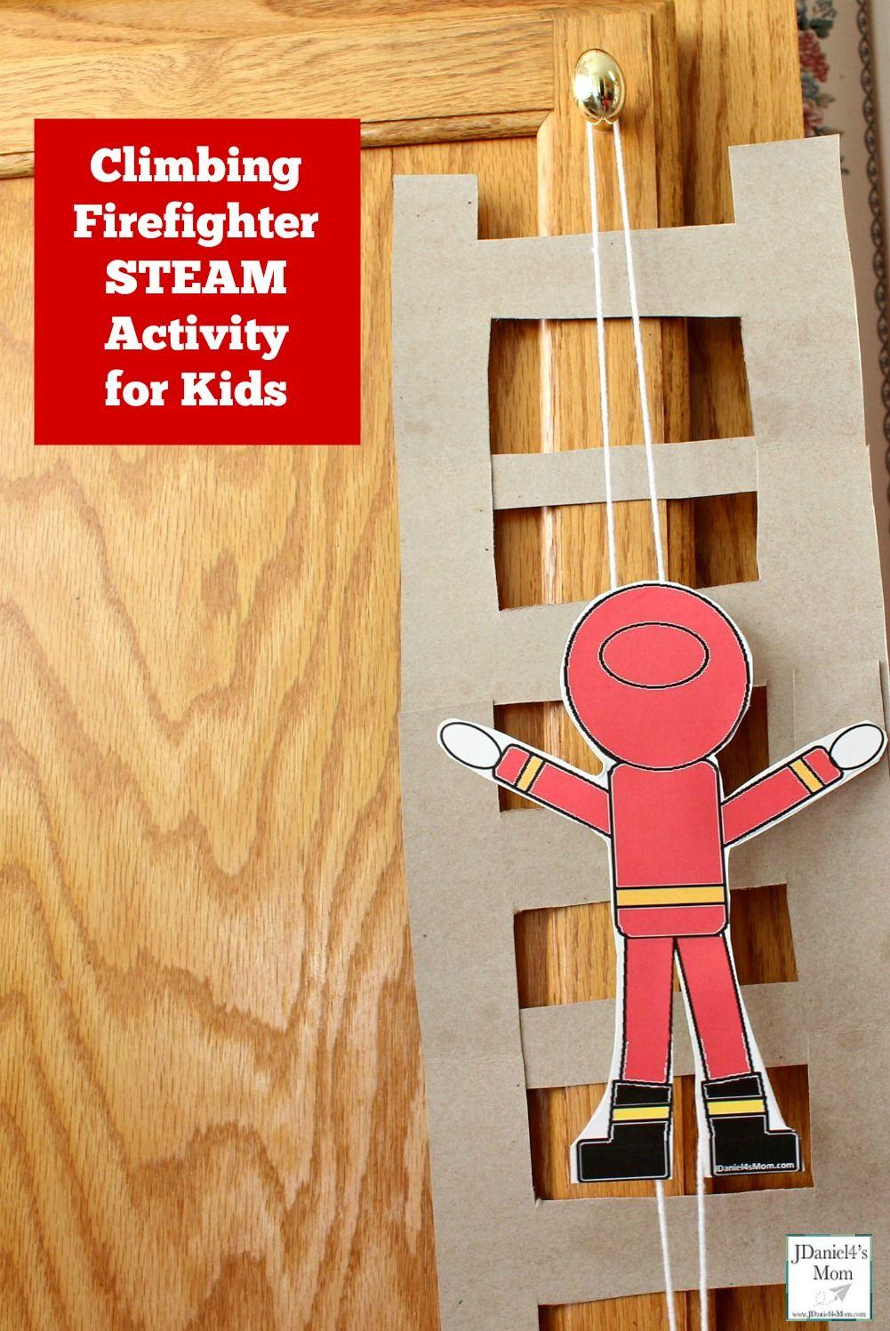 Climbing Firefighter STEAM Activity for Kids Fire safety