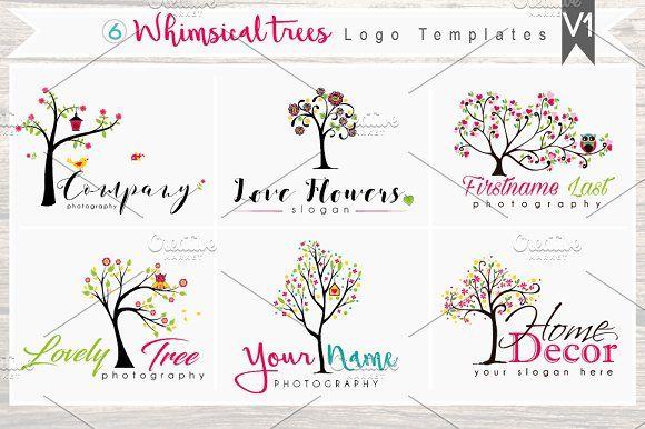 6 Whimsical trees Logo Bundle - V1 by Whimsical Logoshop on @creativemarket