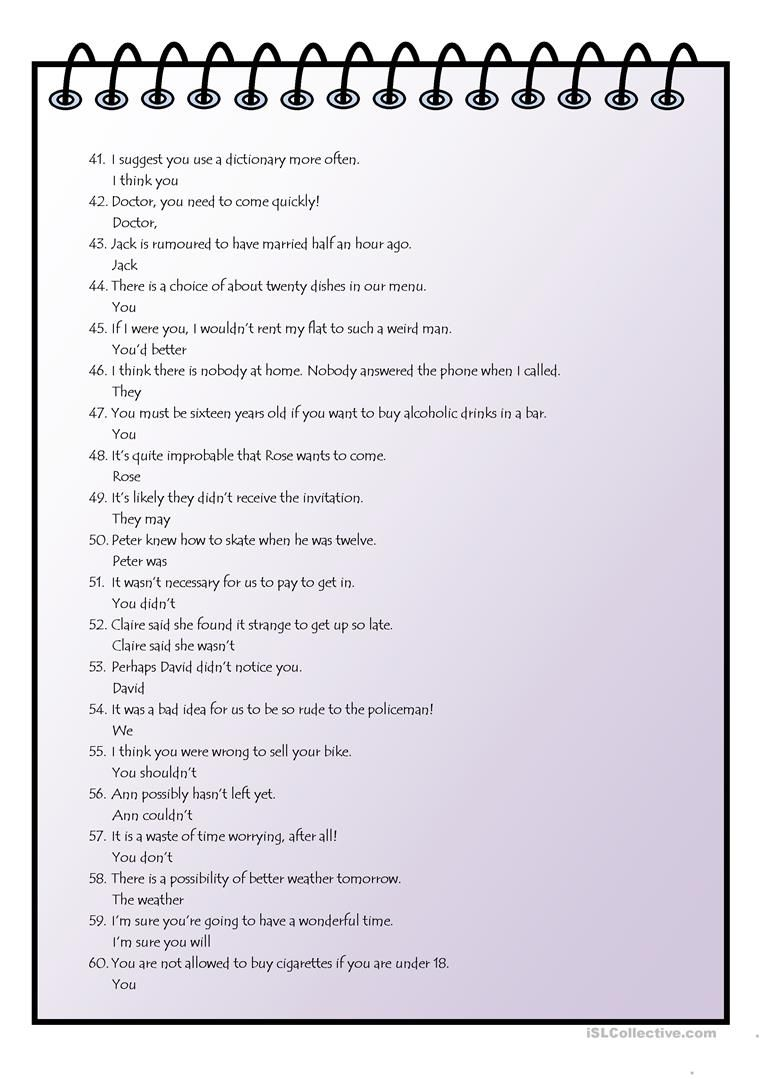 Rephrasing Modals 8o Sentences Plus Keys Worksheet Free Esl Printable Worksheets Made By Teachers Sentences English Grammar Worksheets Teaching Jobs [ 1079 x 763 Pixel ]