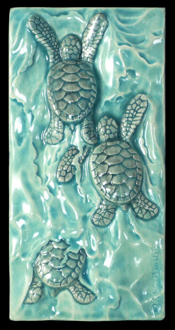 Ceramic Tile Sculpture Baby Sea Turtle Body By