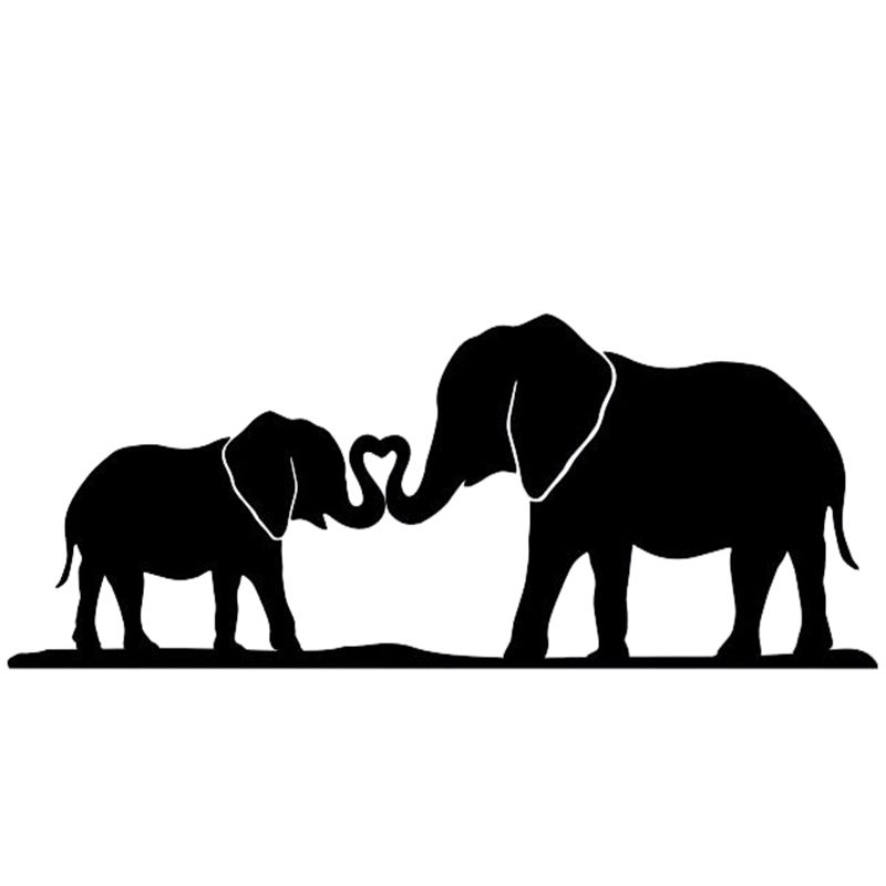 Elephant Mom Baby Nose Rolled Together Family Home Heart Car Sticker For Bumper Laptop Kayak Car Jpg 800 800 Elephant Silhouette Baby Silhouette Elephant