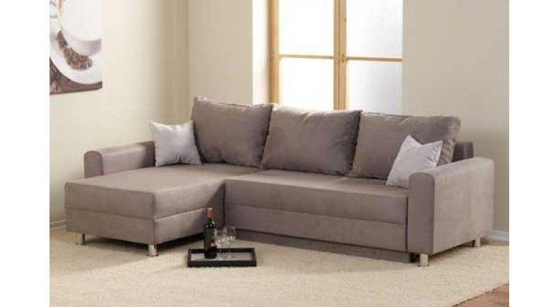 Ecksofa bezogen mit einem Velours ähnlichen Stoff in grau - wohnzimmer grau silber