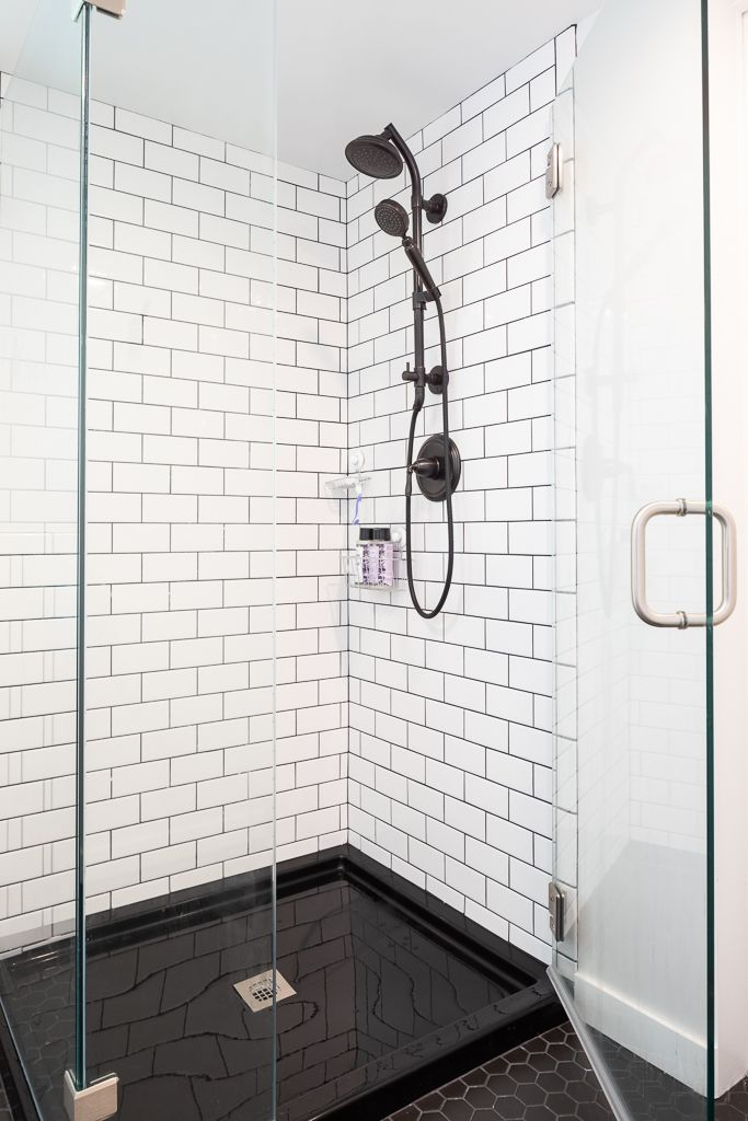 Open Concept Home Makeover With Pops Of Color Model Remodel Seattle Wa White Subway Tile Shower White Subway Tile Shower Subway Tile Showers Shower Tile
