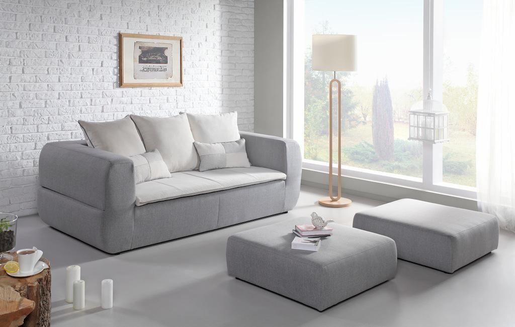 canap design gris avec 2 poufs couchage direct paradise miliboo canap pinterest canap. Black Bedroom Furniture Sets. Home Design Ideas