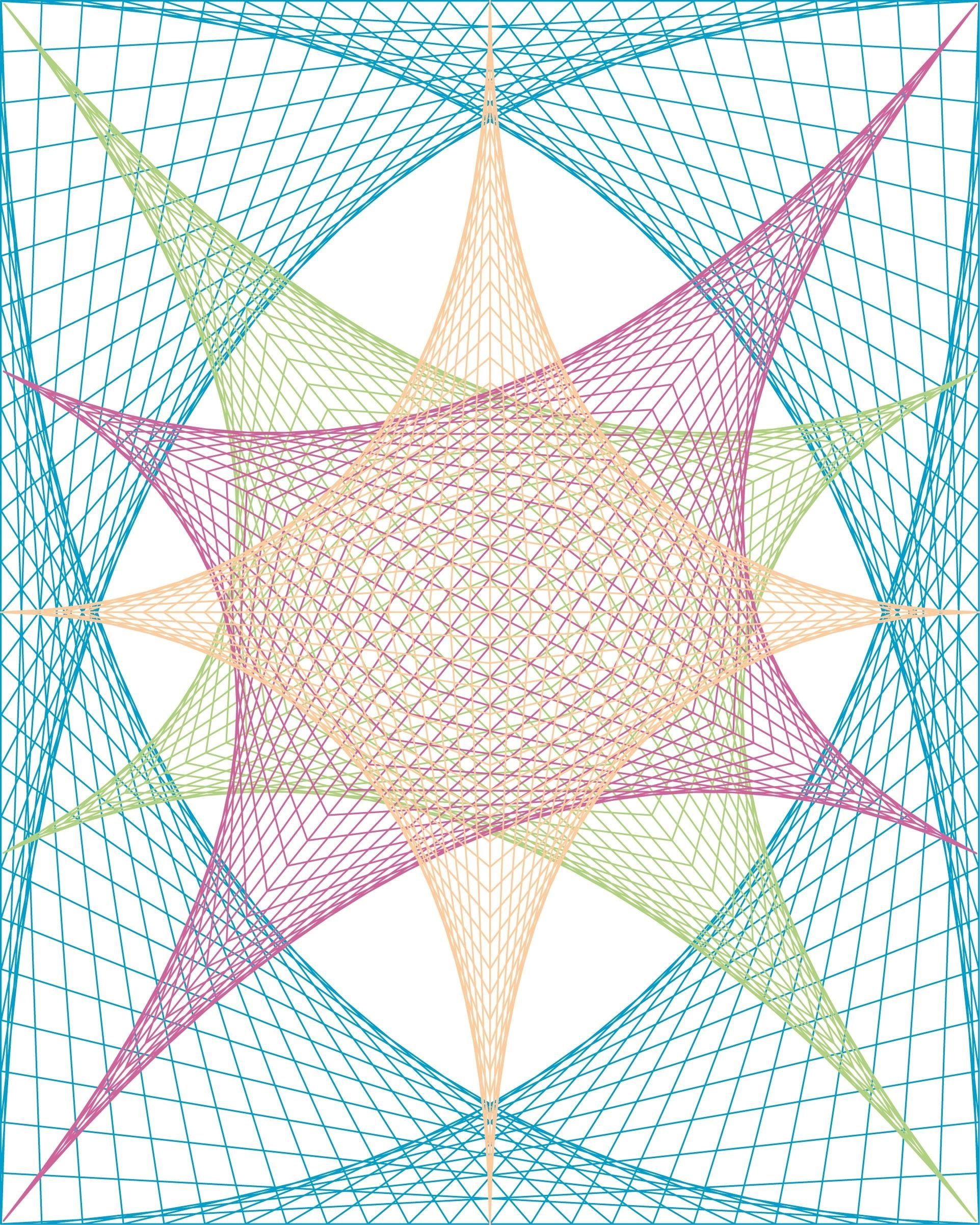 Straight Line String Art : How to create parabolic curves using straight lines high