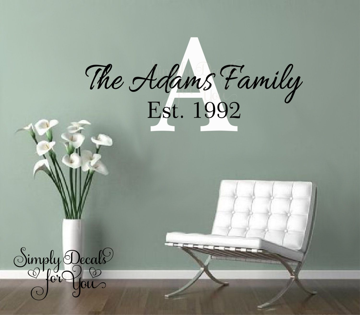 Family Name Decal Personalized Family Name Wall Decal Monogram