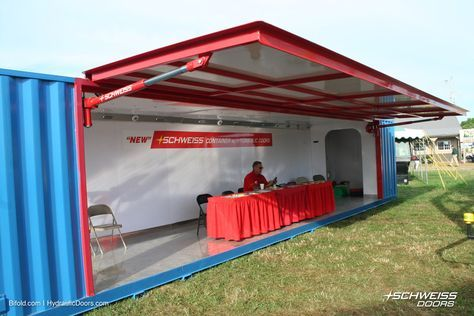 The Schweiss Container Set Up At Farmfest 2015 Now That Is An Idea For Winter Down Summer Open F Container House Shipping Container Buildings Container Shop