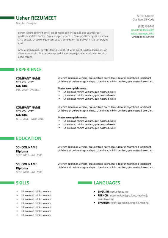 Ueno  Free Professional Resume Template  Green Version