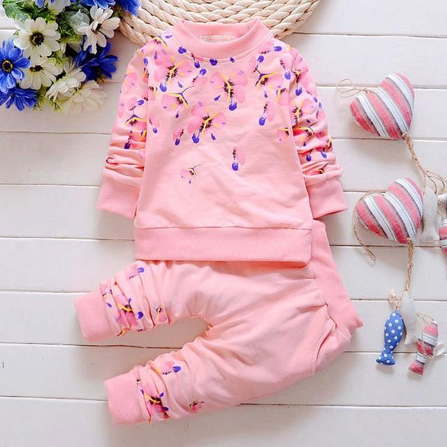 785cc283a9aa Girls Clothes Baby Girl Clothing Sets Flower Bow Cute Suit Kids Long Sleeve  Top T-Shirt +Pants
