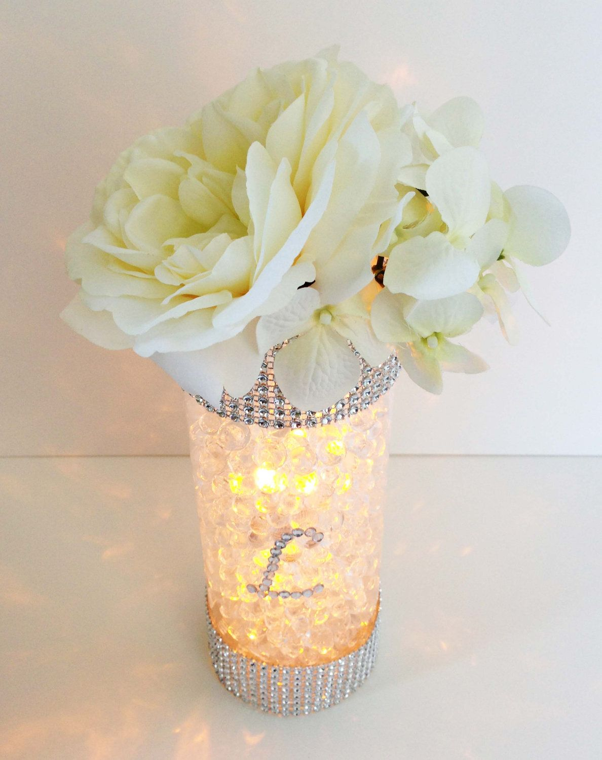 Glowing INITIAL Centerpiece quinceanera Pinterest Silver