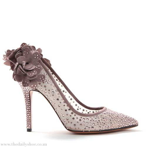 BRUNO MAGLI see through rhinestoned pumps with flower