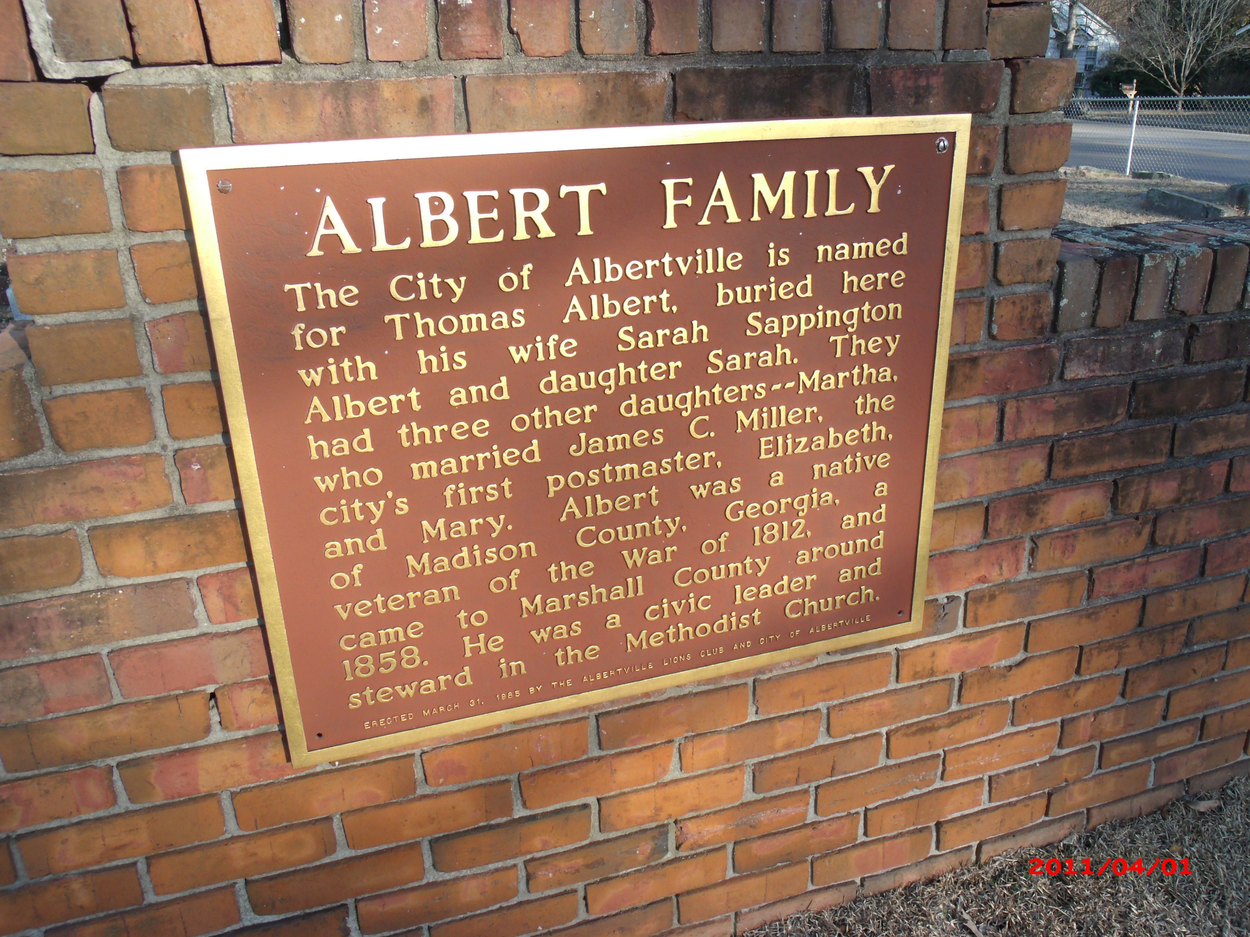 Colormaster albertville al - Plaque On Albert Family Gravesite Old Albertville Cemetery Albertville Alabama