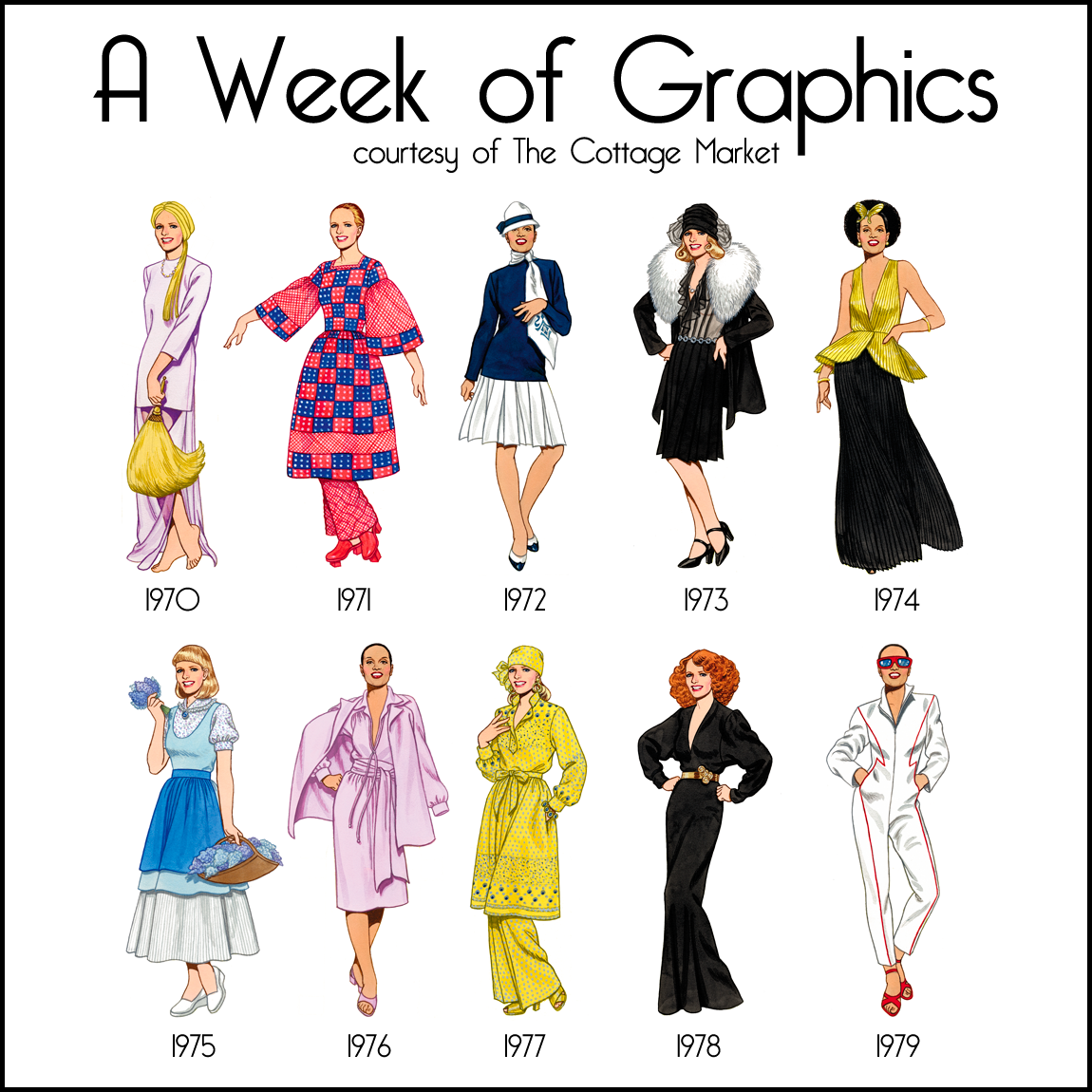 Week of Free Graphics the 1970's Fashion Illustrations. If ...