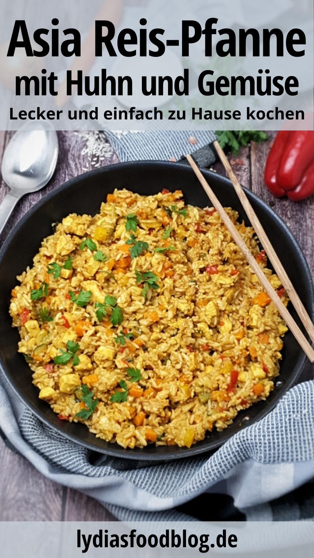 Asiatische Reispfanne mit Gemüse und Huhn, Rezept