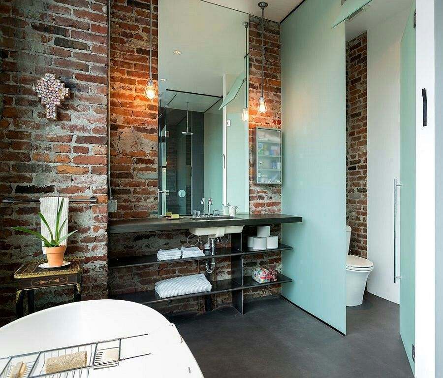 Brick with light blue and dark grey floor | Brick bathroom ...