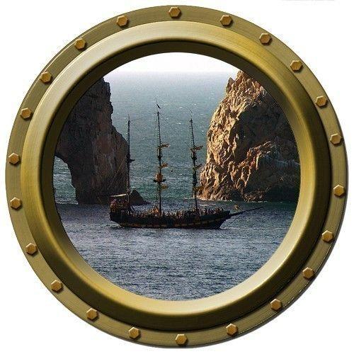 Dangerous Passage Pirate Ship Porthole Vinyl Wall