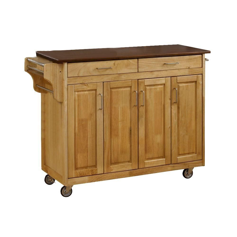 Homestyles Create A Cart Natural Kitchen Cart With Cherry Wood Top 9200 1017g Home Styles White Kitchen Cart Kitchen Cart