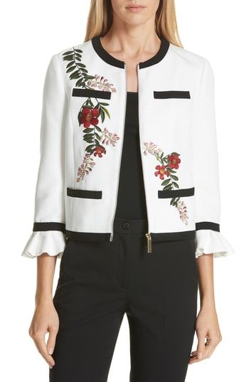 10ba1817ff3487 Great for Ted Baker London Aimmii Embroidered Jacket women s coats Jacket  online.   395