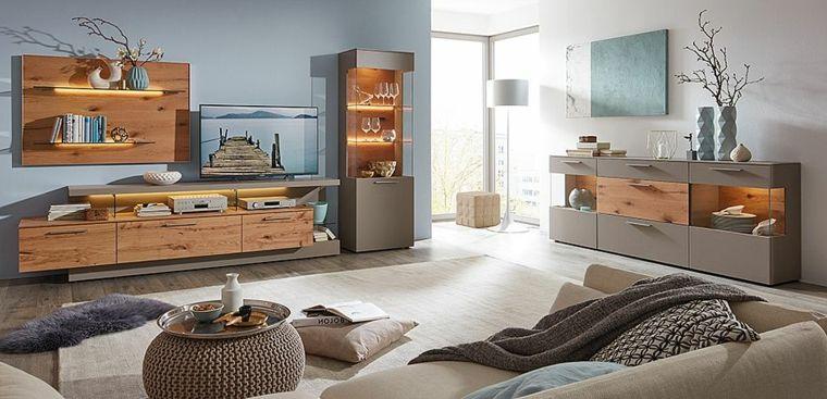 Soggiorni moderni componibili con elementi in legno e ...