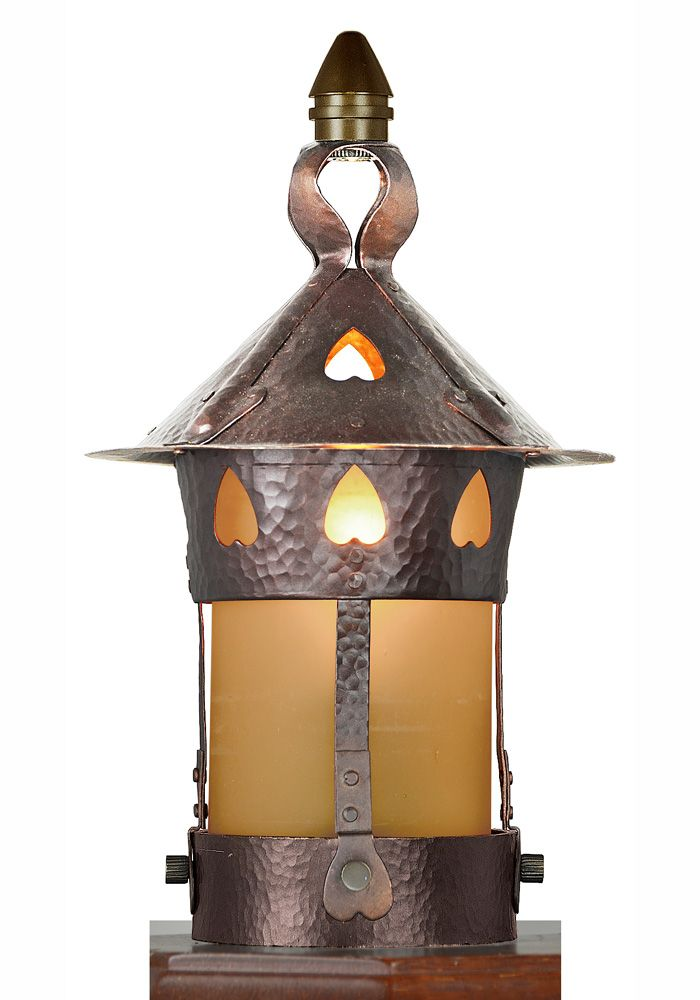 Arts and Crafts Newel Post Light Stickley Heart reproduction Antique Lantern style light is made of  sc 1 st  Pinterest & Arts and Crafts Newel Post Light Stickley Heart reproduction ... azcodes.com