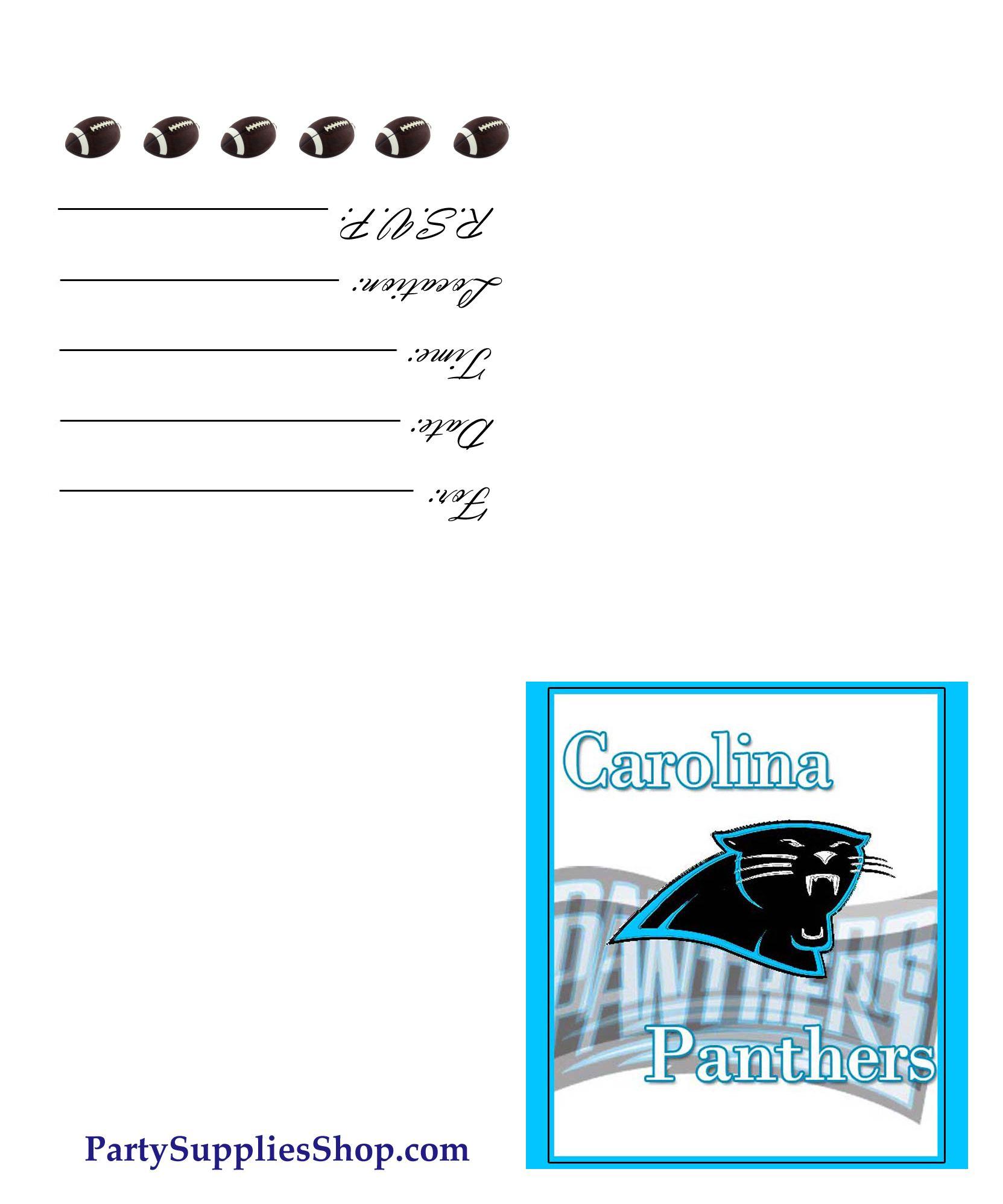 Free Printable Carolina Panthers Invite
