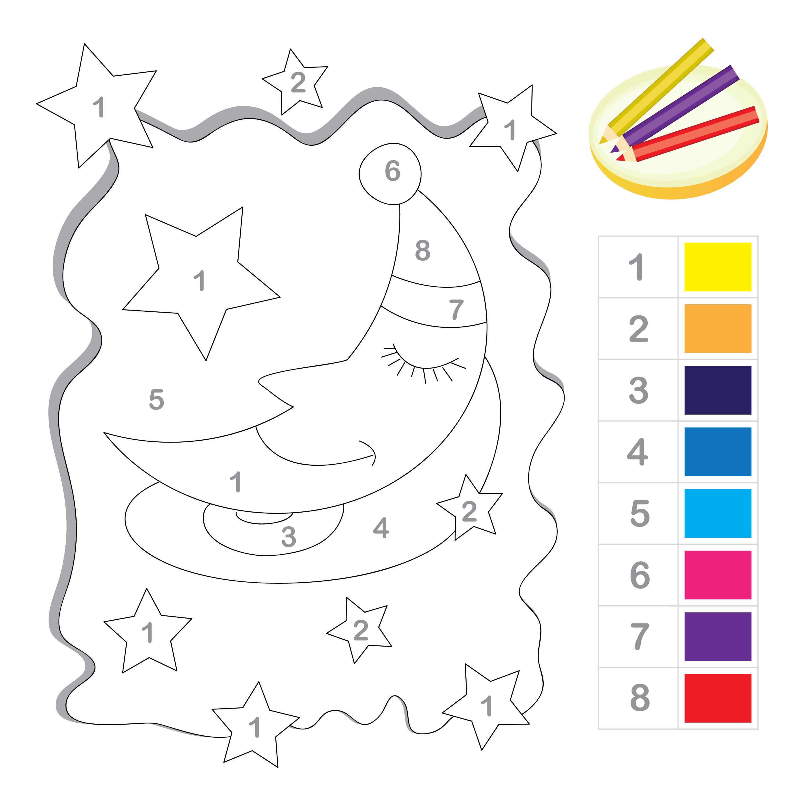 Stars and Moon Color by Number Printable Numbers Math and School
