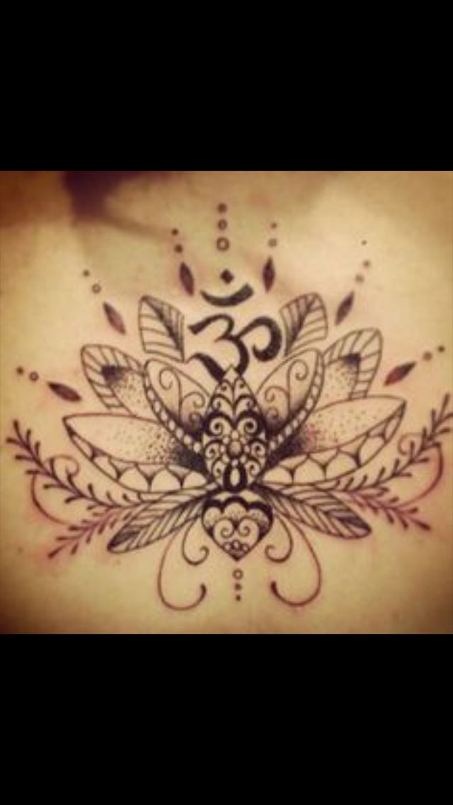 Lotus flower with om symbol back tattoo | Tattoos I like ...