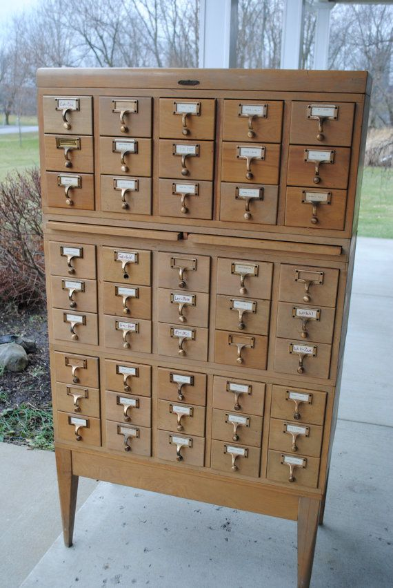 Vintage Library Card Catalog /
