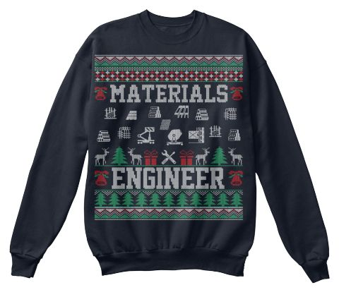 Materials Engineer Christmas Sweater French Navy Sweatshirt Front