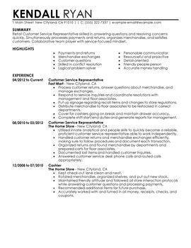 Customer Service Representative Retail Resume Examples Job Resume Template Job Resume