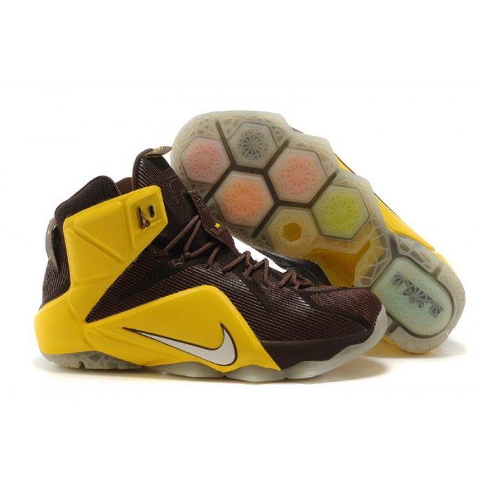 ea914b00eb5c9 Nike LeBron 12 Cleveland Cavaliers Yellow Brown Basketball Shoes ...