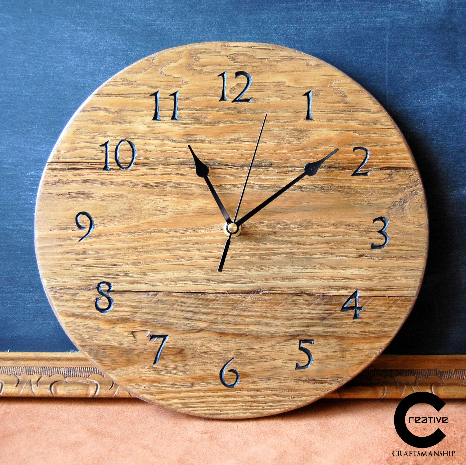 Wooden wall clock made of reclaimed pallet wood.Handcarved ...