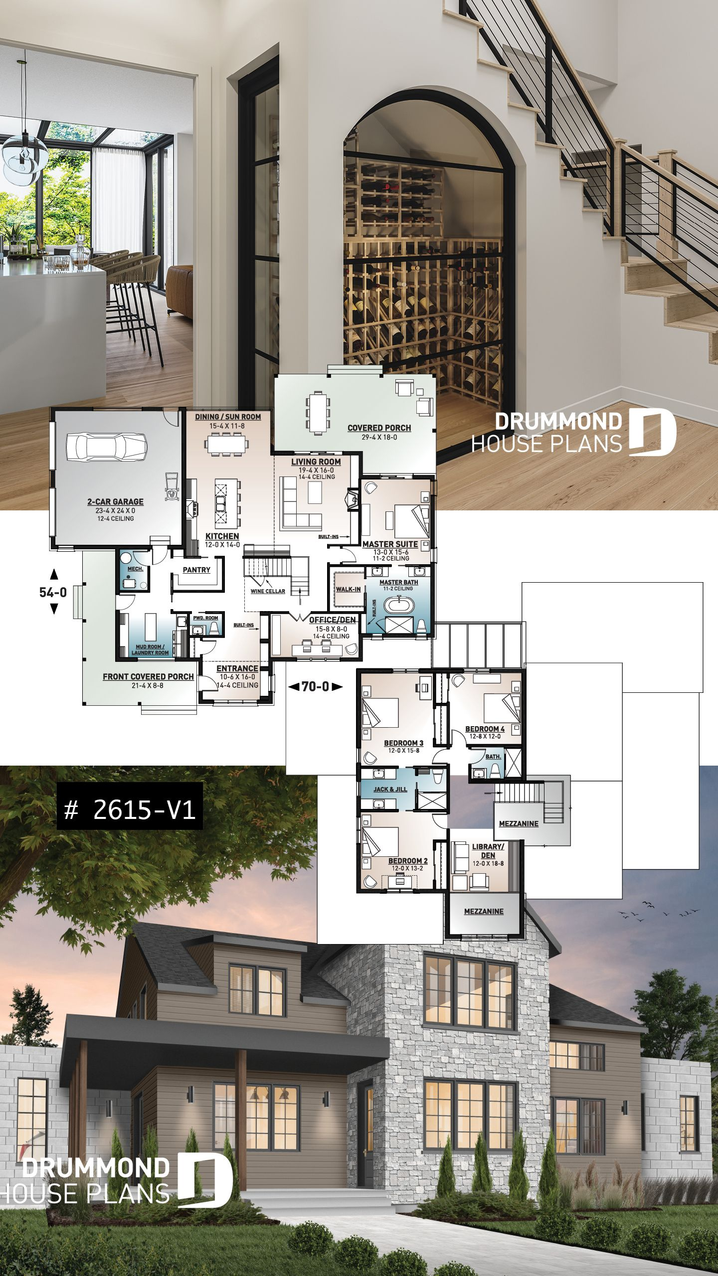 Discover The Plan 2615 V1 New Cotton Country 2 Which Will Please You For Its 4 Bedrooms And For Its Modern Farmhouse Styles House Plans Modern Farmhouse Plans Modern House Plans